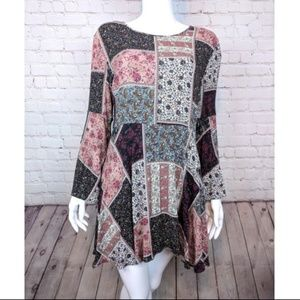 American Eagle Boho Bell Sleeve Patch Dress